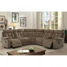 Furniture Of America Living Room Reclining Large Family Sectional Mocha  Chenille Couch Console Plush Cushion Fun Recliner With Cup Holder And Storage I60