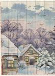 Домик вышивка зима схема