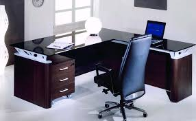glass table office. modern l shaped office desks with luxury black leather chair glass table c