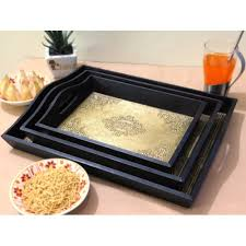 Decorative Platters And Trays Handmade brass Design Wooden Serving Tray Set cum Decorative 33