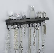 wall jewelry displays | Wall Mount Long Necklace Rack Holder Hanging Jewelry  Organizer Display .