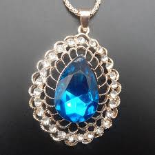 details about rose gold plated blue crystal teardrop charm pendant sweater necklace