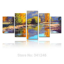 hand painted modern wall art home decor autumn river forest thick acrylic colors palette knife