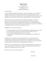 Best Operations Manager Cover Letter Examples Livecareer