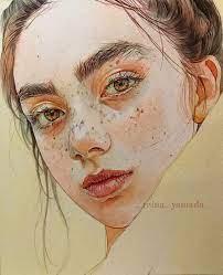 "Therese Maloney"" by Reina Yamada, Japan {figurative art beautiful female  head freckles young woman face portrait waterco…   Art, Watercolor  portraits, Portrait art"