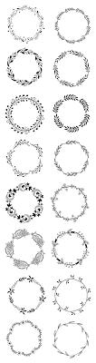 花植物のシンプルおしゃれなフリー素材vector Floral Wreath Set