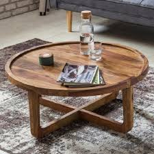 modern solid wood curved round coffee