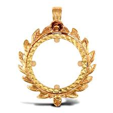 solid 9ct yellow gold caeser crown frame half sovereign coin mount pendant