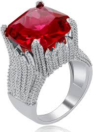 Square Shape Ring Design Uloveido Women Flame Shape Super Big Square Red Cz Solitaire Wide Wedding Band Engagement Rings Charm Statement Ring Ra0414
