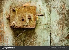 old door and rusty door lock stock photo