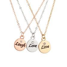 live laugh love delicate charm f best friends forever pendant chain necklace 3 pc