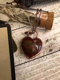 red jasper crystal heart necklace red heart jewelry healing crystals red jasper heart pendant boho gypsy jewelry polished crystal jewelry