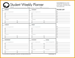 Student Assignment Planner Printable College Student Assignment Planner School Homework Template Middle