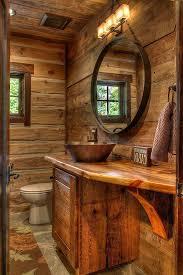 round bathroom mirror with wood frame
