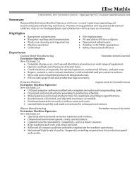 Excellent Machine Operator Resume Example With Highlights And