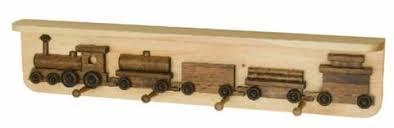 Train Coat Rack RAILROAD TRAIN COAT HOOK RACK Handmade Wooden Wall Peg with Storage 53