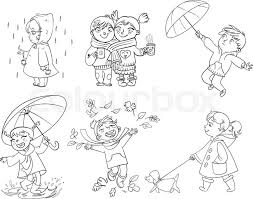 children under the umbrella in a raincoat raindrop catches funny cartoon character vector ilration coloring book stock vector colourbox