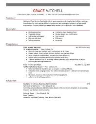 Food Service Specialist resume example