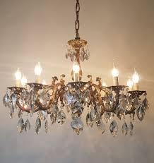 gilded brass crystal 10 arm chandelier rewired c 1920 1 of 15