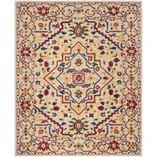 safavieh southwest pattern multi ivory area rug 8x10 hand tufted