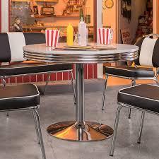 Esstisch Elvis Tisch Bistrotisch Edelstahl Weiß ø 100 American Diner