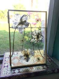 framed dried flowers pressed flower frame pressed flowers in gold glass floating frame botanical blue delphinium