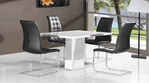 lovely pure white high gloss dining table 4 black chairs homegenies high glass