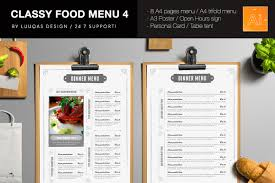 pages menu template classy food menu 4 illustrator template by luuqas design
