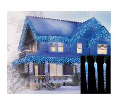 Blue Led Icicle Christmas Lights Amazon Com Hofert Set Of 10 Blue And White Color Changing