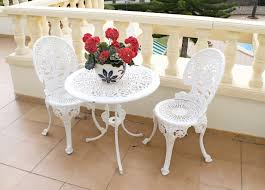 white iron outdoor furniture. White Wrought Iron Bistro Chairs Cast Patio Furniture Sets Outdoor G
