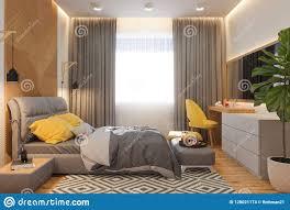 Scandinavian Design Concept 3d Illustration Of Bedroom Interior Design Concept In