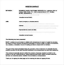 Business Investment Contract 7 Sample Investment Contract Agreements
