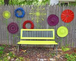 recycled garden flower garden wall folk art with park bench