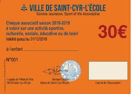 le dispositif du chèque ociatif est une aide de la mune permettant à des familles saint cyriennes de payer tout ou partie du montant de l adhésion de