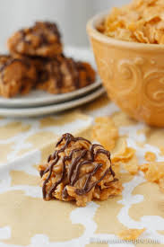 peanut butter balls with corn flakes. Peanut Butter No Bake Cookies On Balls With Corn Flakes