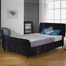 black upholstered sleigh bed. Hf4you Sophie Crushed Velvet Upholstered Sleigh Bed Black