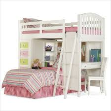girls bunkbed with desk and drawers