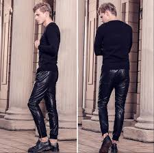 2018 new autumn winter mens pants fashion personality leather trousers casual loose harem pants plus size