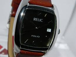 Relic Watch Battery Chart Details About Mens Relic Folio Cushion Shape Steel Finish Khaki Brown Dial Strap Watch