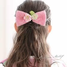 髪飾り 桃色 ピンク 梅 剣菊 花 リボン 絞り つまみ細工 コーム 髪留め