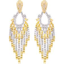 yellow and white diamond chandelier earrings