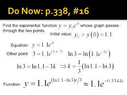 find the exponential function whose graph p through the two points