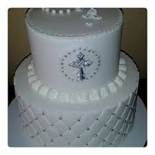 White Silver Christening Cake Cake By Rosa Cakesdecor