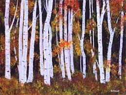 fall birch trees acrylic painting deep canvas