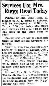 Obituary for Lillie Riggs (Aged 72) - Newspapers.com