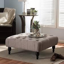 table ottoman. amazon.com: baxton studio keswick linen modern tufted ottoman, beige: kitchen \u0026 dining table ottoman