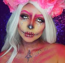 pink glitter skull for unique makeup ideas to try