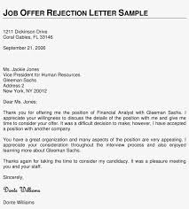 Job Offer Rejection Letter Sample Free Sample Of Rejection Letter Valid Free Job Application Job