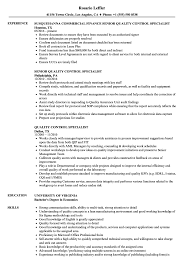 quality control resume. Quality Control Specialist Resume Samples Velvet Jobs