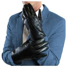 debra weitzner mens black leather gloves rabbit fur lined genuine leather touchscreen winter gloves at men s clothing